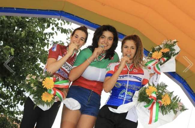 Il podio dei campionati italiani allieve a cronometro